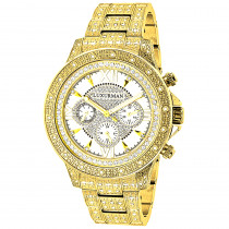 Iced Out Mens Luxurman Watch with Diamond Band 1.25ct Yellow Gold Plated
