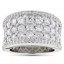 Iced Out Pave Diamond Ring for Women 3.93ct 14K Gold by Luxurman
