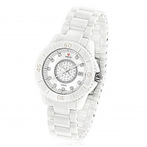 Icetime Stainless Steel & White Ceramic Case 0.15ct Ladies Diamonds Watch