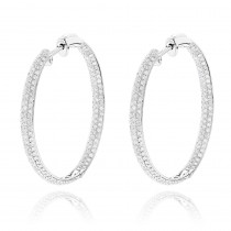 Inside Out Hoop Diamond Earrings 2.38ct 14K Gold