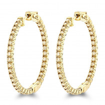 Inside Out Yellow Diamond Hoop Earrings in 14k Gold by Luxurman 2.2ct.