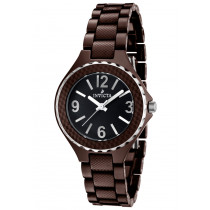 Invicta Watches: Women's Ceramic Black Dial Silver Tone Bezel Brown Ceramic 1160
