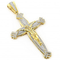 Jesus Cross Mens  Diamond  Pendant 10K Gold 1.66ct