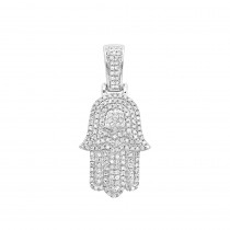 Jewish Jewelry: Small 14K Gold Diamond Hamsa Hand Amulet Pendant 0.55ct