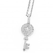 Key Pendants Small 14K Gold Diamond Key Pendant 0.18ct