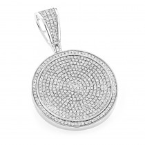 Ladies 10K Gold Diamond Iced Out Medallion Pendant 1.16ct