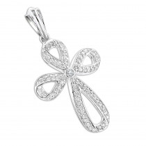 Ladies 14K Gold Designer Diamond Cross Pendant 0.63ct