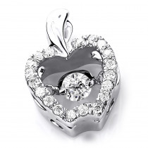 Ladies 14K Gold Small Dancing Diamond Apple Pendant 0.35 Heart