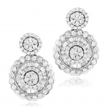 Ladies 18K Gold Designer Diamond Earrings 1.78ct