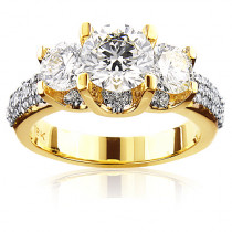 Ladies 18K Gold Three Stone Unique Diamond Engagement Ring 2.9ct
