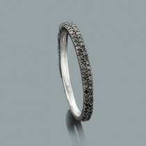 Ultra Thin Ladies Black Diamond Ring 0.36ct 14K Stackable