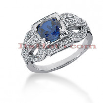 Ladies Blue Sapphire and Diamond Ring 14K 0.34ctd 1.00cts