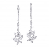 Ladies Butterfly Diamond Drop Earrings 1.8ct 14k Gold