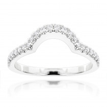 Ladies Curved Diamond Wedding Band 14K Gold 0.6ct