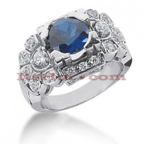 Ladies Designer Diamond Sapphire Ring 0.86ctd 2cts 14K