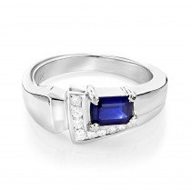 Ladies Diamond and Sapphire Ring 14K 0.13ctd 0.50cts