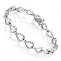 Ladies Diamond Bracelet with Infinite Hearts 0.25ct Sterling Silver