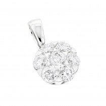Ladies Diamond Cluster Pendant 0.86ct 14K Gold Flower
