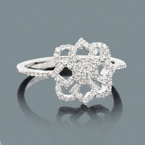 Ladies Diamond Flower Ring 0.28ct 14K Gold