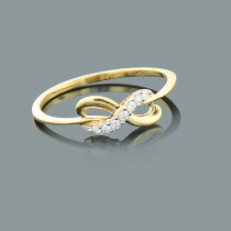 Thin Ladies Diamond Infinity Ring 0.09ct 10K Gold Jewelry