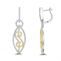 Ladies Diamond Leaf Earrings 0.8ct 14K Gold
