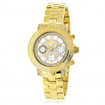 Ladies Diamond Watch 0.30 ct Luxurman Yellow Gold Plated
