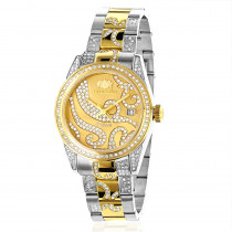 Ladies Diamond Watch 18k White Yellow Gold Pltd Two-Tone Luxurman Tribeca
