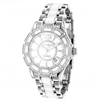 Ladies Diamond Watches: Luxurman White Ceramic Watch 1.25ct MOP Galaxy