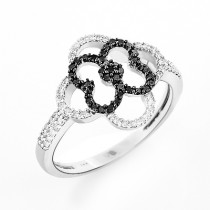 Ladies Flower Ring with Black and White Diamonds 0.31ct 14K Gold