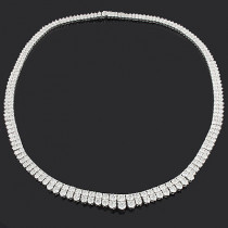 Ladies Necklaces: 2 Row Diamond Eternity Necklace 20.58ct 18K