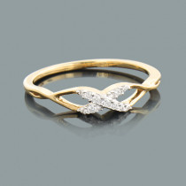 Thin Ladies Pave Diamond Crossover X Ring 0.09ct 10K Gold
