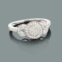 Ladies Pave Diamond Engagement Ring 0.27ct 10K