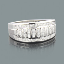 Ladies Round Baguette Diamond Wedding Band 1.05ct 14K Gold