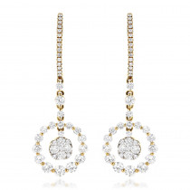 Ladies Round Diamond Drop Earrings 2.4ct 14k Gold