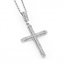 Ladies Small 14K Gold Diamond Cross Pendant 0.59ct