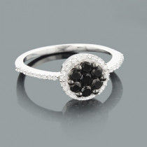 Ladies White and Black Diamond Ring 0.60ct Sterling Silver