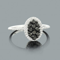 Ladies White and Black Diamond Ring 0.75ct Sterling Silver