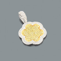 Ladies Yellow Diamond Pendant 0.64ct 14K Gold Flower Jewelry