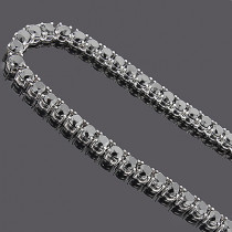 Large Black Diamond Necklace Chain 151.50ct 14K