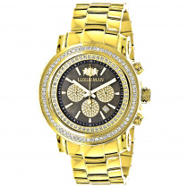 Large Diamond Bezel Watch 2.5ct Luxurman Escalade Yellow Gold Plated