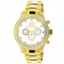 Large Diamond Bezel Watch by Luxurman 2.3ct Mens Yellow Gold Plated Liberty