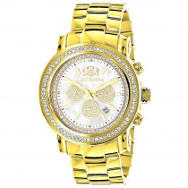 Large Diamond Bezel Watch for Men Yellow Gold Plated 2.5c Luxurman Escalade