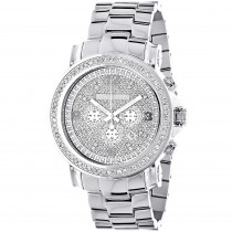 Large Iced out Mens Chronograph Diamond Bezel Watch Luxurman Escalade 2.5ct