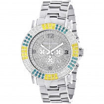 Large Mens Multicolor White Yellow Blue Diamond Watch 4ct Luxurman Escalade