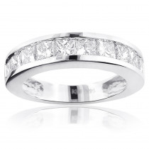 Large Princess Cut Diamond Wedding Band 2.5ct 14K Gold