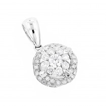 Luccello Designer Diamond Circle Pendant 0.42ct 18K Gold