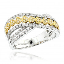 Luxurman 1 Carat Unique White Yellow Diamond Heart Ring for Women 14k Gold