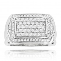 Luxurman 14K Gold Diamond Ring For Men Pave Diamonds 1ct