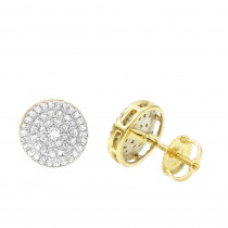 Luxurman 14K Gold Pave Round Diamond Cluster Earrings Studs 1/2 Carat