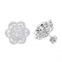 LUXURMAN 14K Gold Unique Flower Ladies Diamond Cluster Stud Earrings 2.2ct